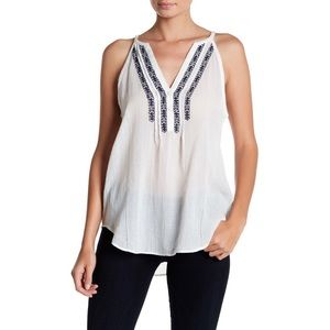 Paige Tyra Gauzy Boho Embroidered Tank Top
